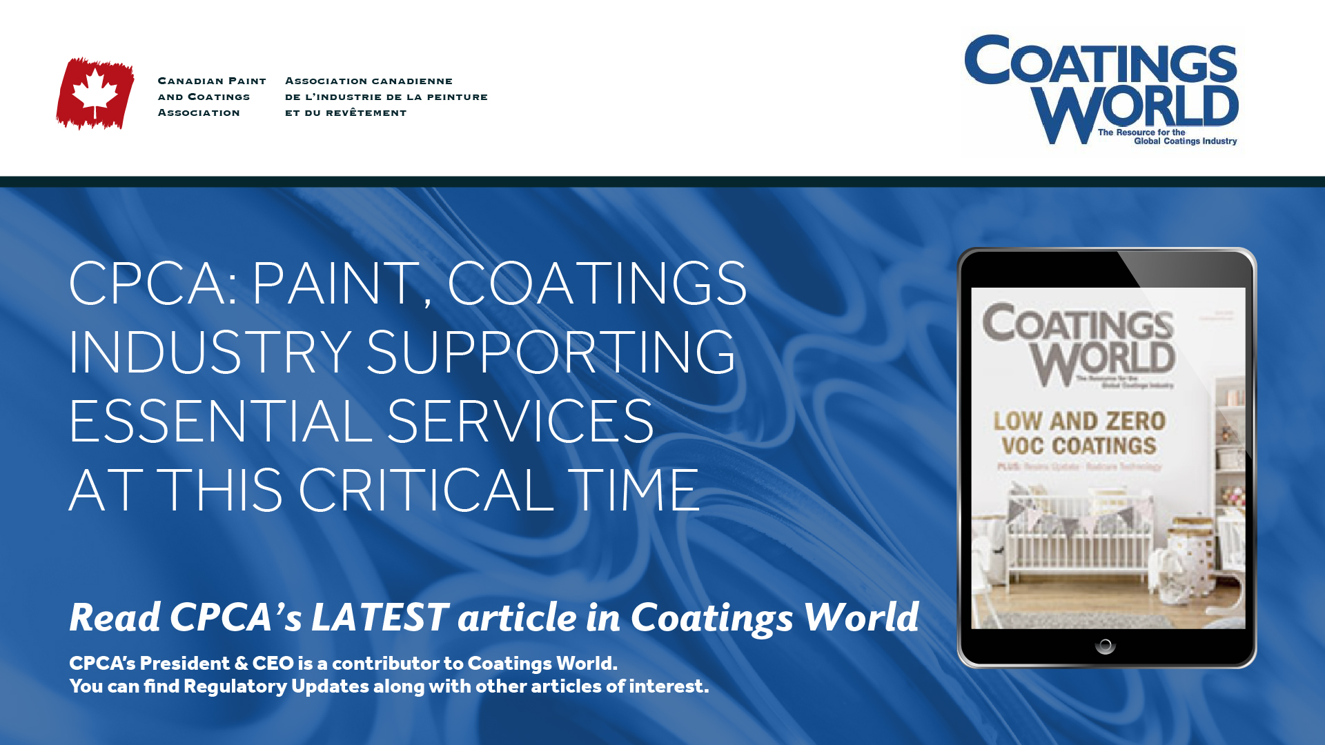 CPCA: Paint, Coatings Industry Supporting Essential Services at this Critical Time