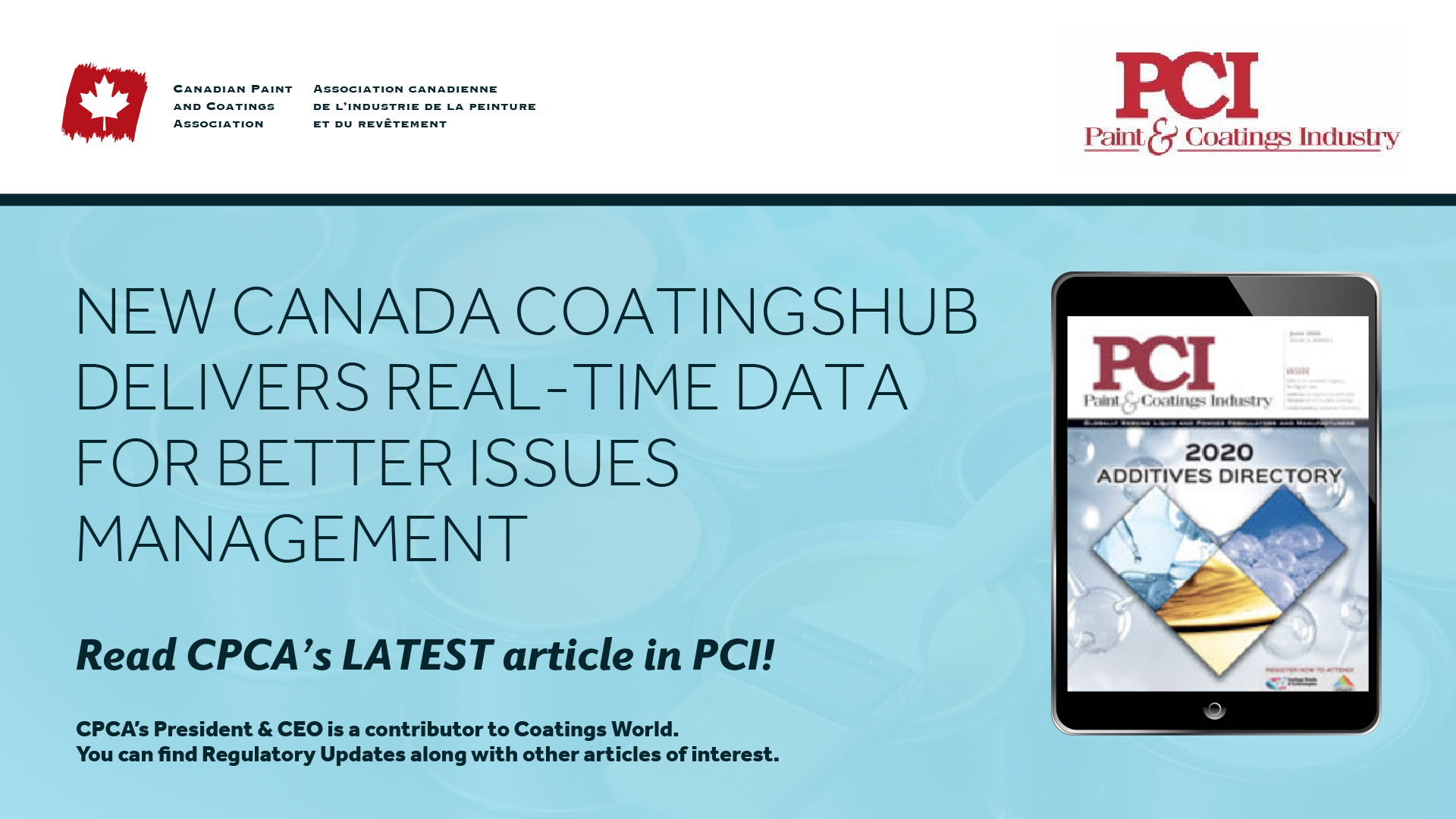 Canada CoatingsHUB Delivers Real-time Data